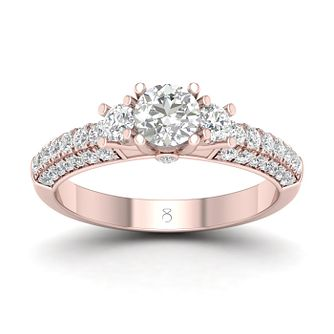 The Diamond Store 18ct Rose Gold 1ct Diamond Trio Ring - Product number 2851008