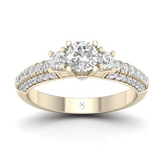 The Diamond Store 18ct Yellow Gold 1ct Diamond Trio Ring - Product number 2851121