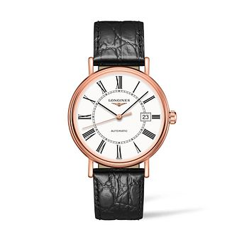 Longines Presence Men's Black Leather Strap Watch - Product number 2852500