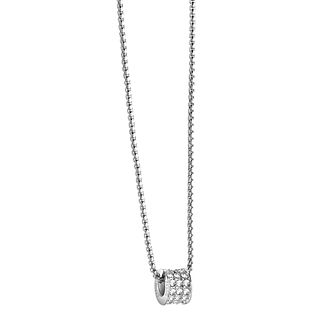 Guess Rhodium Plated Crystal Set Charm Drop Pendant - Product number 2853019