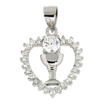Cailin Silver & Crystal Heart Communion Chalice Pendant - Product number 2858940