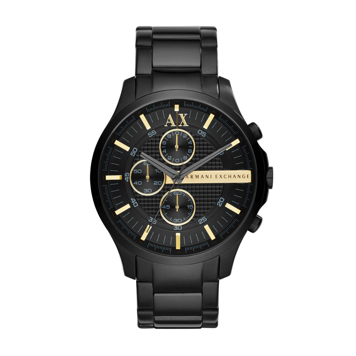3a1b3688 Armani Exchange Men's Black Ion Plated Chronograph Watch