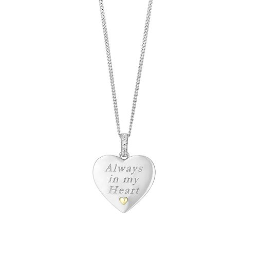Silver & 9ct Gold Cubic Zirconia Always in My Heart Pendant - Product number 2866277