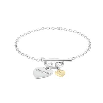 Silver & Gold Cubic Zirconia I Love You T Bar Bracelet - Product number 2866307