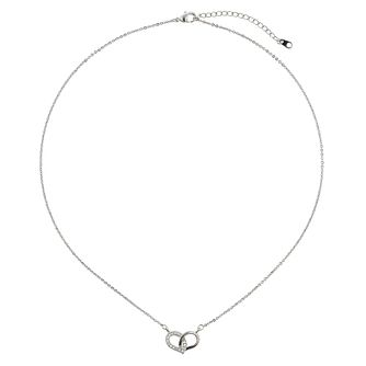 Mikey Silver Tone Crystal Set Link Heart Necklace - Product number 2866404