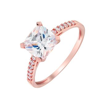 9ct Rose Gold Princess Cut Cubic Zirconia Solitaire Ring - Product number 2867079