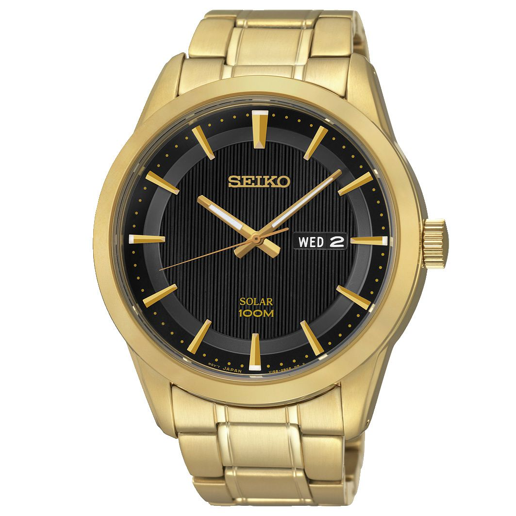 Seiko Men's Solar Gold Plated Bracelet Watch - Product number 2871386