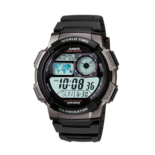 Casio Men's Black Resin World Time Digital Watch - Product number 2871416