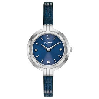 Bulova Rhapsody Ladies' Blue Leather Strap Watch - Product number 2871599