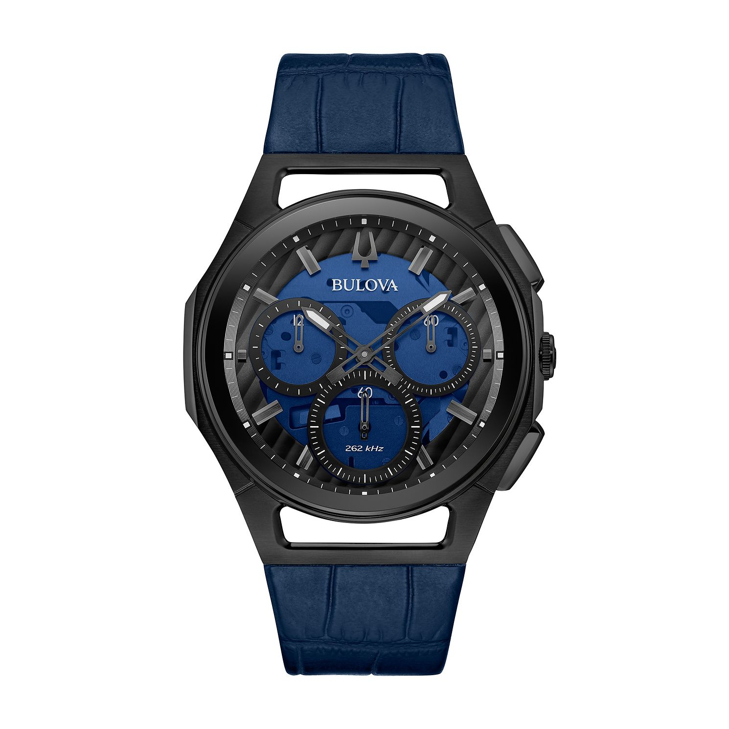 Bulova Curv Men's Blue Leather Strap Watch - Product number 2872048