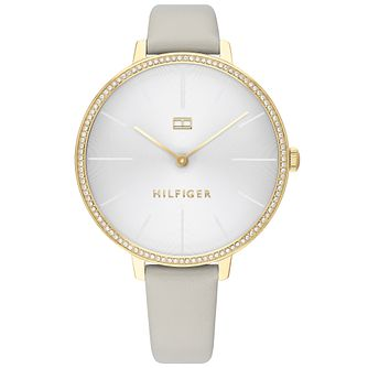 Tommy Hilfiger Kelly Ladies' Silver Leather Strap Watch - Product number 2872498