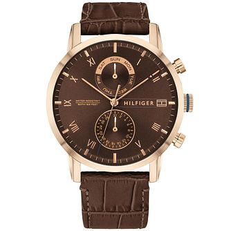Tommy Hilfiger Men's Brown Leather Strap Watch - Product number 2873613