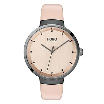 HUGO Go Ladies' Pink Leather Strap Watch - Product number 2874156
