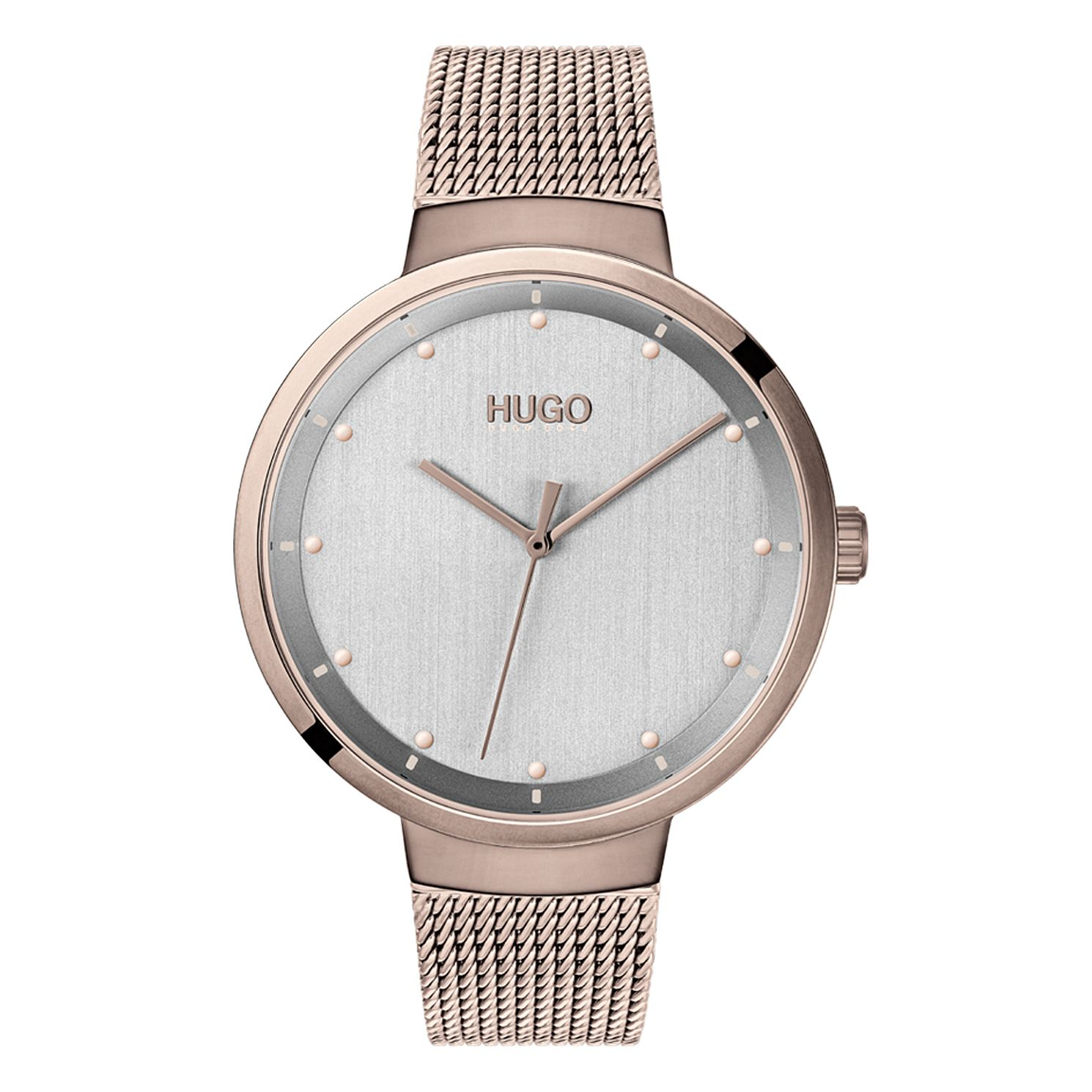 HUGO GO Ladies' Rose Gold Tone IP Mesh Bracelet Watch - Product number 2874180