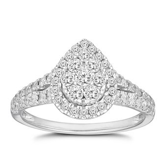 18ct White Gold 3/4ct Diamond Pear Halo Cluster Ring - Product number 2874946