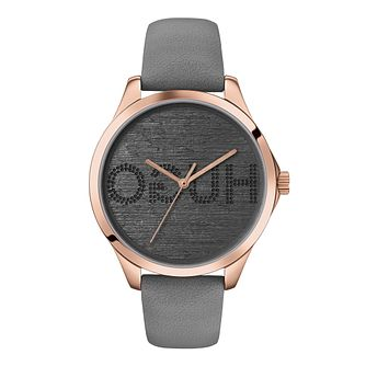 HUGO FEARLESS Ladies' Grey Leather Strap Watch - Product number 2875160
