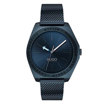 Hugo Act Men's Blue IP Mesh Bracelet Watch - Product number 2876728
