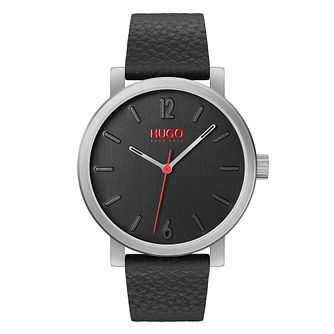 HUGO Rase Men's Black Leather Strap Watch - Product number 2876809