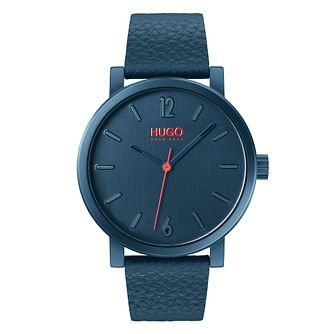 HUGO RASE Men's Blue Leather Strap Watch - Product number 2876817