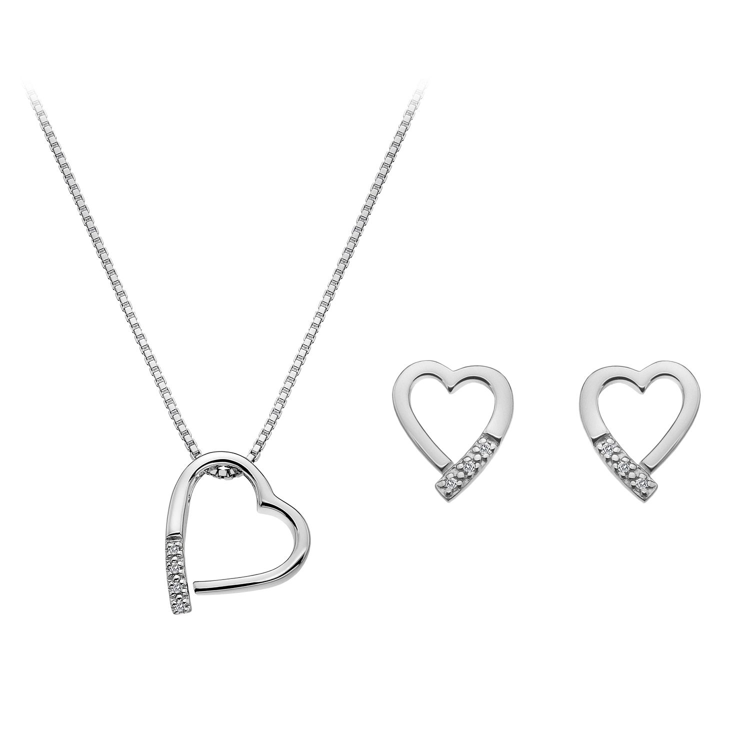 Hot Diamonds Silver & Diamond Heart Earring & Pendant Set - Product number 2877228