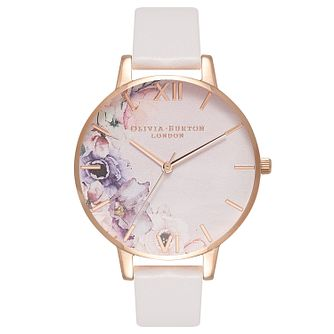 Olivia Burton Watercolour Florals Pink Leather Strap Watch - Product number 2877244