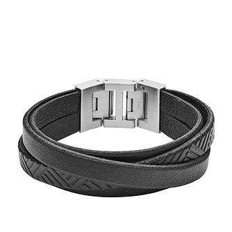 Fossil Vintage Men's Stainless Steel Black Leather Bracelet - Product number 2878410