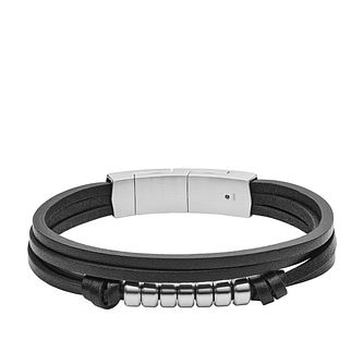 Fossil Vintage Men's Stainless Steel Black Leather Bracelet - Product number 2878437