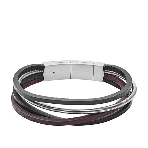 Fossil Vintage Men's Stainless Steel Leather Bracelet - Product number 2878445