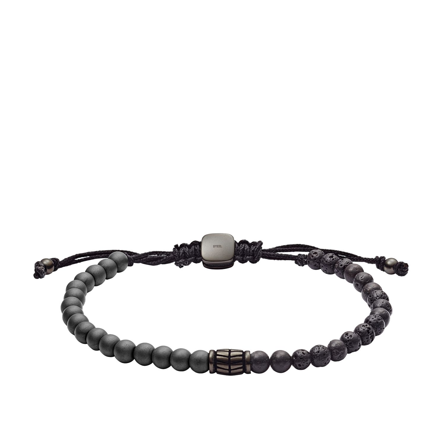 Fossil Men's Hematite And Black Lava Stone Bracelet - Product number 2878461