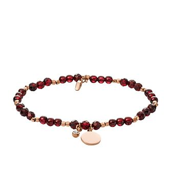 Fossil Ladies' Rose Gold Tone Garnet Wellness Bracelet - Product number 2878534