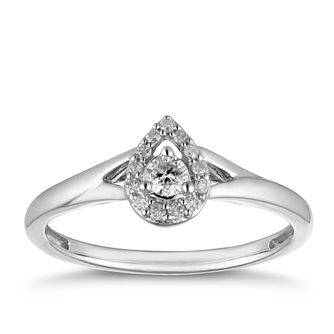 9ct White Gold 0.15ct Diamond Pear Halo Ring - Product number 2878593