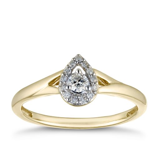 9ct Yellow Gold 0.15ct Diamond Pear Halo Ring - Product number 2878739