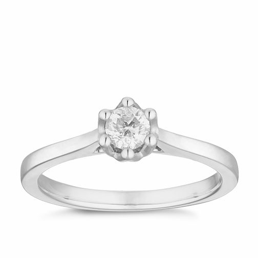 9ct White Gold 1/4ct Diamond Solitaire Ring - Product number 2878879