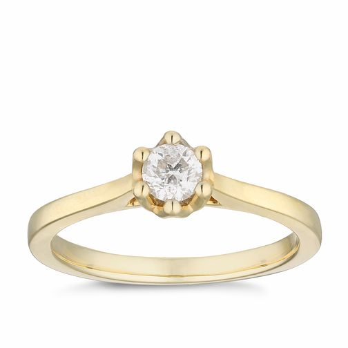 9ct Yellow Gold 1/4ct Diamond Solitaire Ring - Product number 2879026