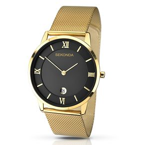 Sekonda Men's Black Dial Gold-Plated Mesh Bracelet Watch - Product number 2879107