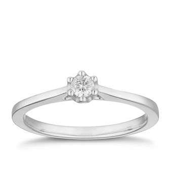 9ct White Gold 1/10ct Diamond Solitaire Ring - Product number 2879212