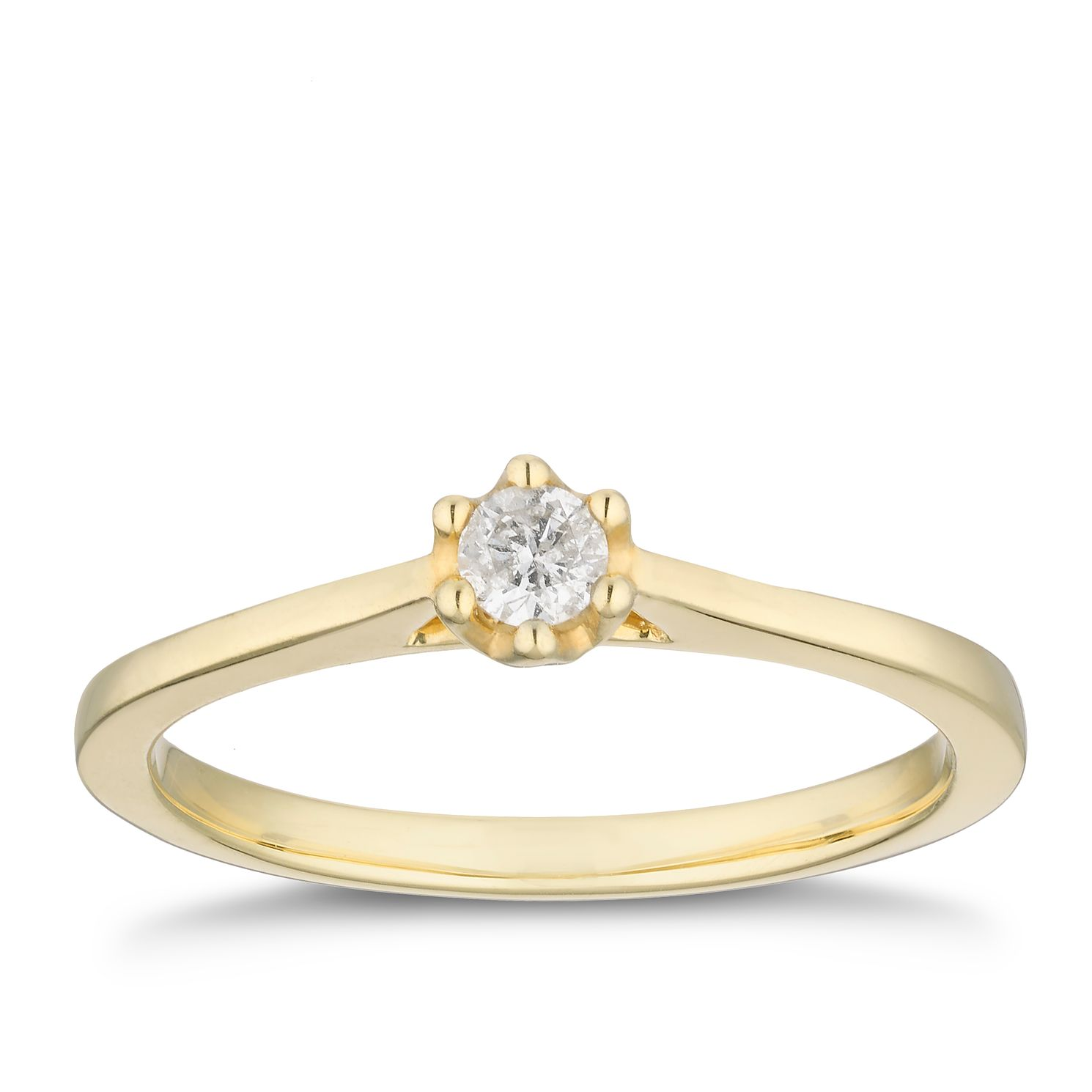 9ct Yellow Gold 1/10ct Diamond Solitaire Ring - Product number 2879379