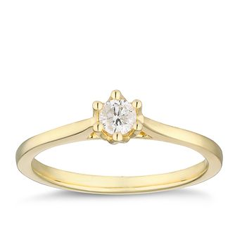 9ct Yellow Gold 0.15ct Diamond Solitaire Ring - Product number 2879670