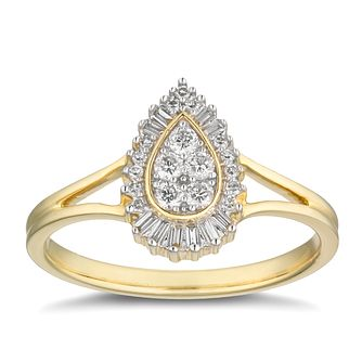 9ct Yellow Gold 1/5ct Diamond Pear Cluster Ring - Product number 2879808