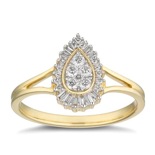 31ba6428e 9ct Yellow Gold 1/5ct Diamond Pear Cluster Ring - Product number 2879808
