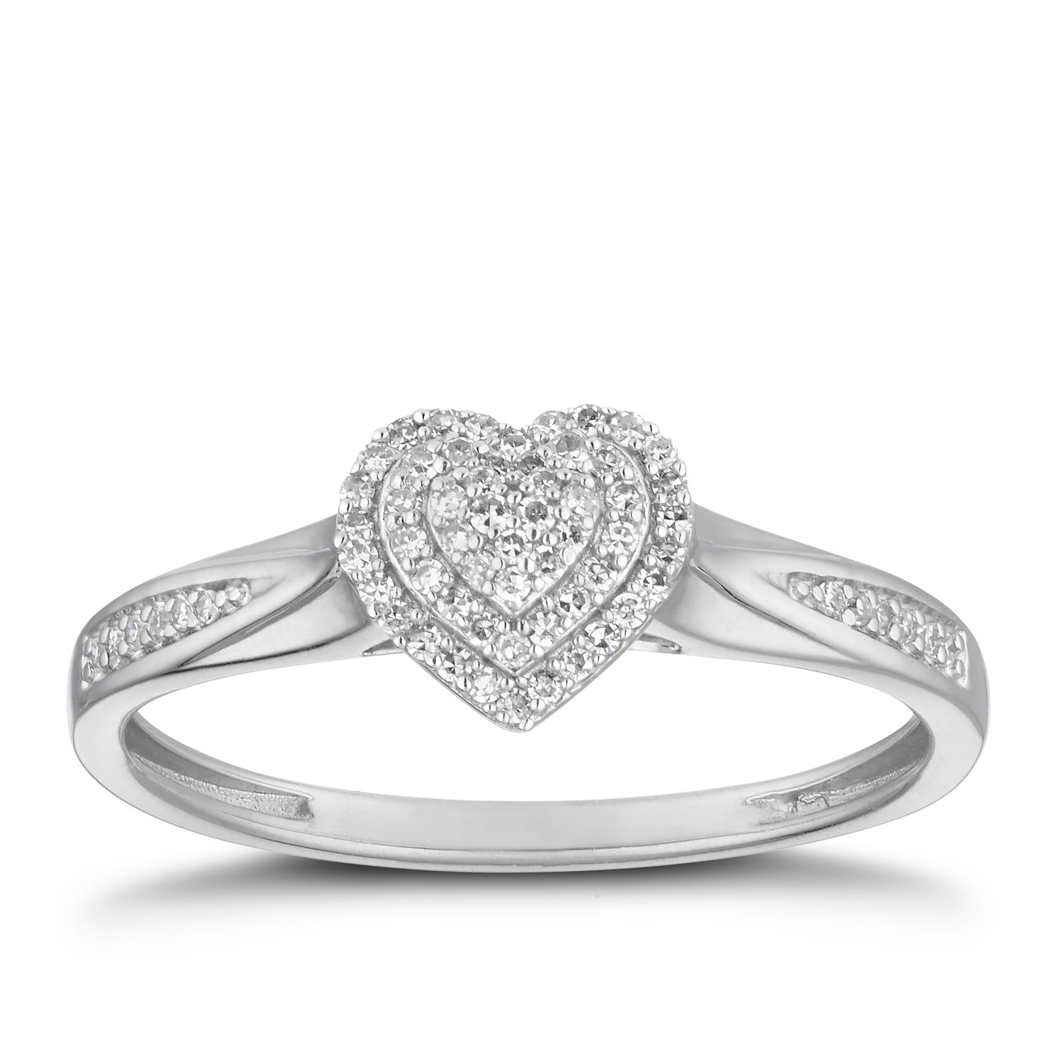 Silver 0.10ct Total Diamond Heart Cluster Ring - Product number 2879921