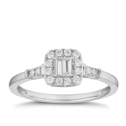 880153e6f 9ct White Gold 1/5ct Diamond Baguette Cluster Ring - Product number 2880059