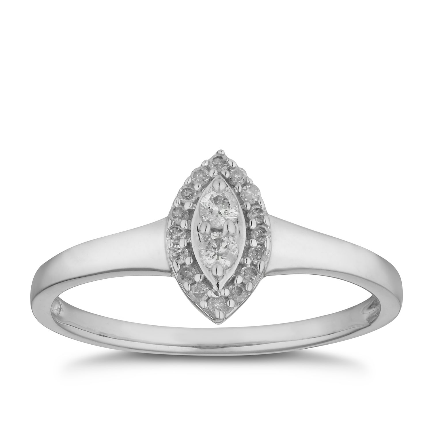 9ct White Gold 0.12ct Diamond Marquise Cluster Ring - Product number 2880237