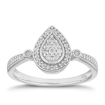 Silver 0.15ct Diamond Pear Cluster Ring - Product number 2880377