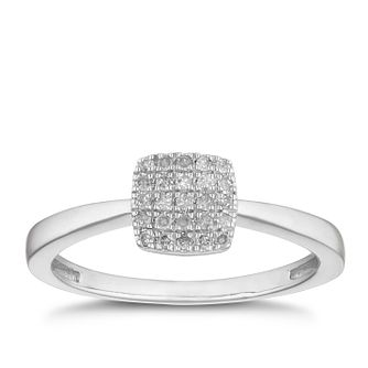Silver 0.12ct Diamond Square Cluster Ring - Product number 2880504