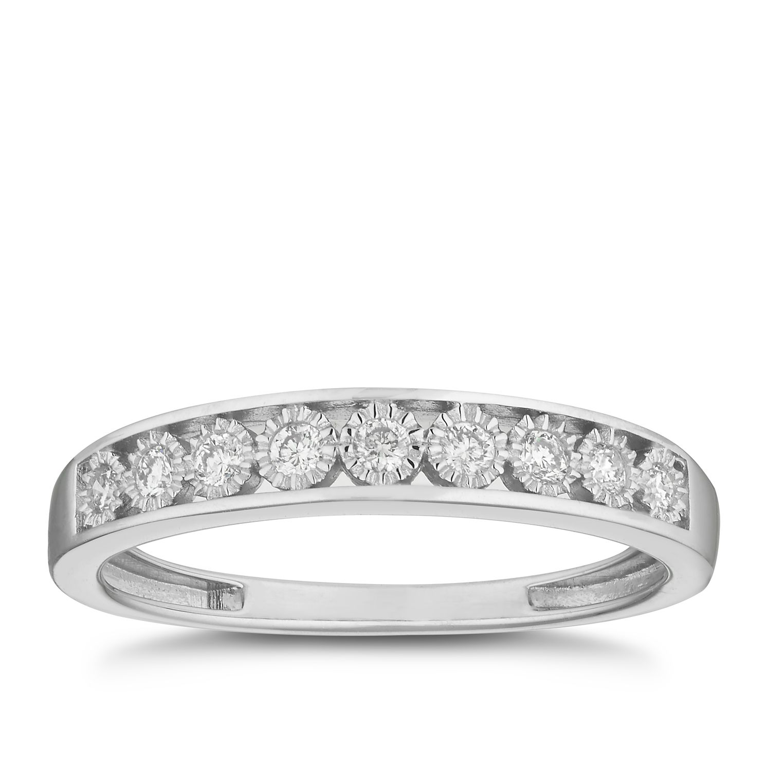 9ct White Gold 0.15ct Diamond Illusion Set Eternity Ring - Product number 2881543