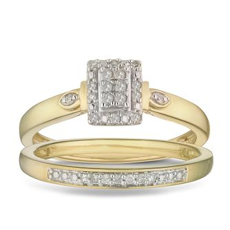 9ct Yellow Gold 0.12ct Diamond Perfect Fit Bridal Set - Product number 2882019