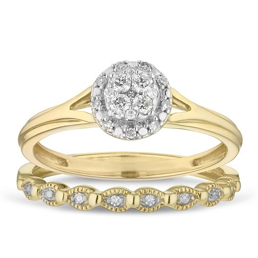 9ct Yellow Gold 0.15ct Diamond Perfect Fit Round Bridal Set - Product number 2882256