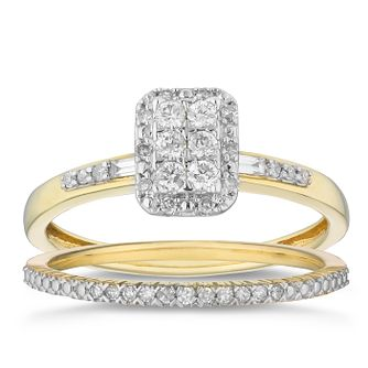 9ct Yellow Gold 1/4ct Diamond Perfect Fit Bridal Set - Product number 2882574