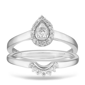Perfect Fit 9ct White Gold 0.16ct Diamond Pear Bridal Set - Product number 2882701